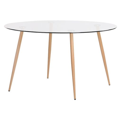Zolfin Tempered Glass Topped Round Dining Table, 135cm