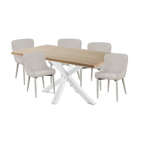 Cheap Online DINING SET - WHITE LEGS, NATURAL TOP TABLE