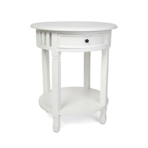 SHEBA 2-TONE ROUND SIDE TABLE/ACCENT TABLE/LAMP TABLE - WHITE/NATURAL